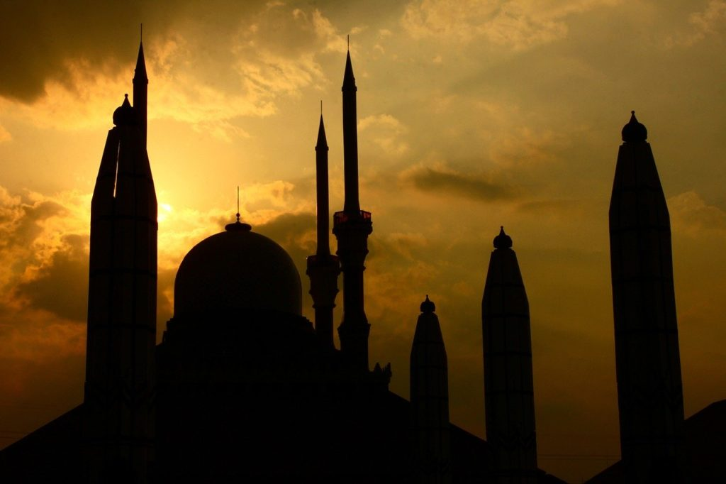 buildings, mosque, sunset